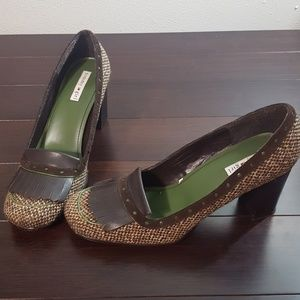 Tommy Girl Brown Tweed Heeled Loafers Sz 10